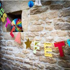 Guirlande - C'est la Fête - Multicolore avec Tassels et Paillettes Or