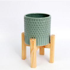 cache-pot-vert-pastel-plante-socle-bois-pin| JOURDEFETE.COM