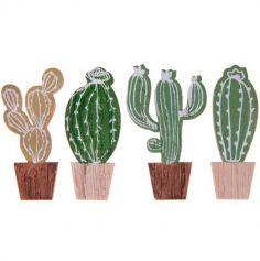 4 Cactus en Bois - 5,5 cm | jourdefete.com
