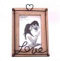 cadre-photo-love-amour-coeur-industriel-bois-metal-mariage-babyshower | JOURDEFETE.COM