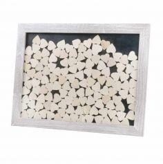 Cadre rustique avec 130 coeurs en bois
