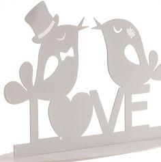 """Décoration de Gâteau - Couple d'Oiseaux """" Love """" - Métal Blanc - 12 cm"""