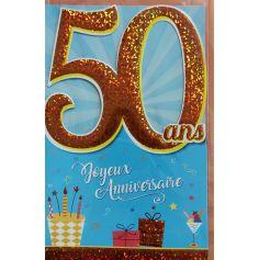 Carte d'Anniversaire Découp'âge Femme avec enveloppe - 50 ans