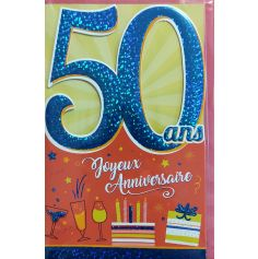 Carte d'Anniversaire Découp'âge Homme avec enveloppe - 50 ans