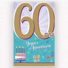 Carte d'Anniversaire Découp'âge Homme avec enveloppe - 60 ans
