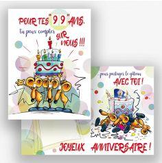 """Carte d'Anniversaire Géante avec Enveloppe - """"Vive toi !"""""""