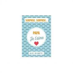 Carte simple à gratter - Modèle au Choix : Maman Je t'aime ou Papa Je t'aime