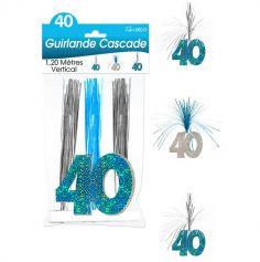 """Guirlande Cascade d'anniversaire """"40 ans"""" - Turquoise et argenté"""