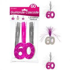 """Guirlande Cascade d'anniversaire """"60 ans"""" - Rose et argenté"""