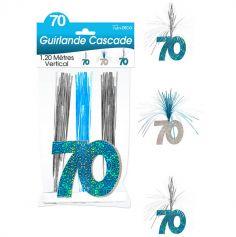 """Guirlande Cascade d'anniversaire """"70 ans"""" - Turquoise et argenté"""