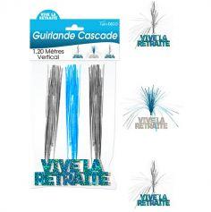 """Guirlande Cascade """"Vive la retraite"""" - Turquoise et argenté"""