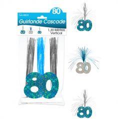 """Guirlande Cascade d'anniversaire """"80 ans"""" - Turquoise et argenté"""