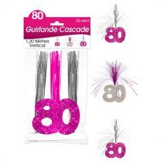 """Guirlande Cascade d'anniversaire """"80 ans"""" - Rose et argenté"""