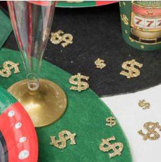 20 Confettis Dollar à Paillettes Dorées - Collection Casino