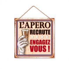 """Plaque métal """"L'Apéro recrute : Engagez-vous !"""