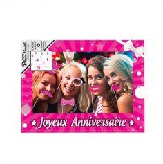 """Cadre Géant Rose """"Joyeux Anniversaire"""" + Kit de 12 accessoires Photobooth"""