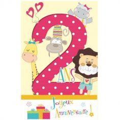 Carte d'Anniversaire Découp'âge avec Enveloppe - 2 ans