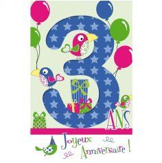 Carte d'Anniversaire Découp'âge avec Enveloppe - 3 ans
