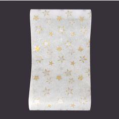 Chemin de table Stella blanc Soyance avec étoiles pailletées
