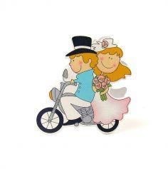 Porte Nom Couple de mariés à moto en bois peint