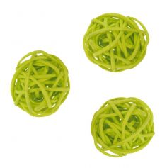 Petites Boules en Rotin Vert Anis