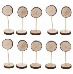 10 marque-places rondin de bois sur tige de 13,5 cm | jourdefete.com