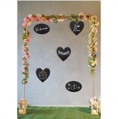 Lot de 3 Ardoises noires en carton Coeurs avec liens - 30 cm