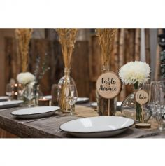 4 Marque-tables Rondin de bois sur tige - 20 cm