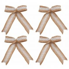 4 Nœuds en toile de jute et dentelle - 12 cm