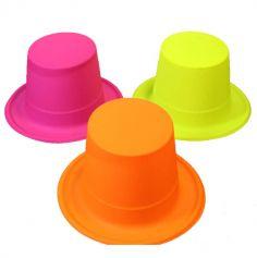 Chapeau en plastique Haut de Forme Fluo - Adulte - Couleur au Choix