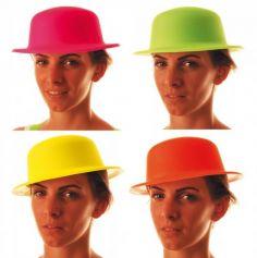 Chapeau Melon Fluo - Couleur au Choix | jourdefete.com