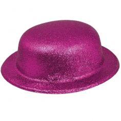 chapeau melon  de déguisement rose fushia