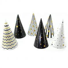 6 Chapeaux pointus en carton - Noir & Or