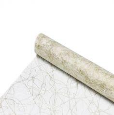 Chemin de table blanc avec fils - 30 cm x 5 m - Couleur au Choix