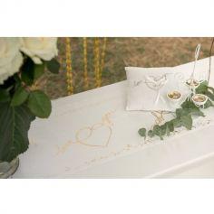 "Chemin de Table en Coton ""Just Married"" - Or"