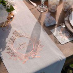 Chemin de Table en Lin - Just Married - Métal Rose Gold