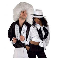 Chemise Disco Blanche en Satin à Froufrous
