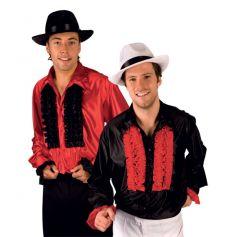 Chemise Disco Rouge en Satin à Froufrous