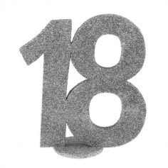chiffre anniversaire age au choix paillettes argent | jourdefete.com
