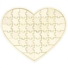 Cœur Puzzle en Bois - 44 Pièces | jourdefete.com