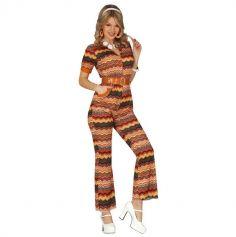 combinaison pour femme 70's marron et orange | jourdefete.com