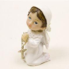 Figurine de Communion : Communiante à genou