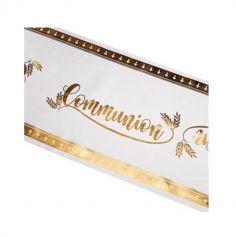 Chemin de Table Communion - Blanc et Or | jourdefete.com