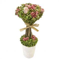 Composition de fleurs et roses séchées sur tiges dans un pot - Blanc ou Rose