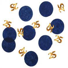 Confettis de table - Anniversaire Elégant - Bleu & Or - 25 g - Age au Choix