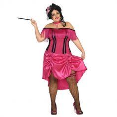 Déguisement Charleston pour Femme - Robe Rose à Franges et à Pois - Taille XXL | jourdefete.com