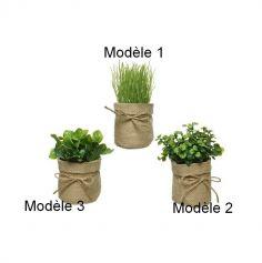 Herbes artificielles dans pot en jute - Modèle au Choix