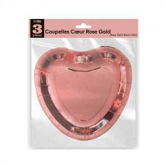3 coupelles rose gold en forme de cœur | jourdefete.com