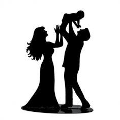 figurine-couple-maries-avec-bebe-noir|jourdefete.com