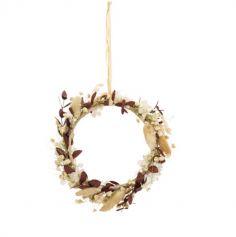 couronnes de fleurs sechees 17 cm taupe | jourdefete.com